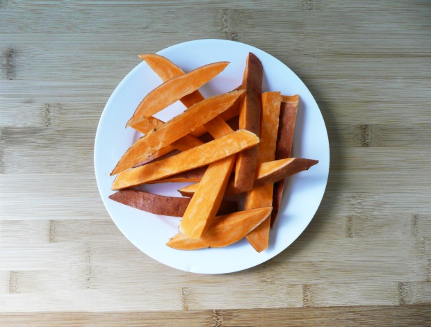 cut raw sweet potatoes
