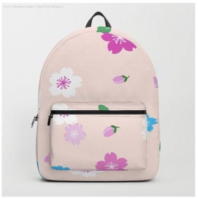 blush cherry blossom backpack