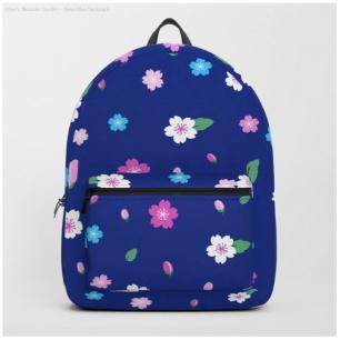 dark blue cherry blossom backpack